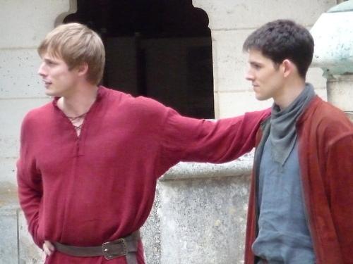 B&C on set of Merlin