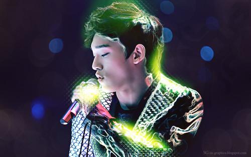এক্সো দেওয়ালপত্র probably with a সঙ্গীতানুষ্ঠান called Chen