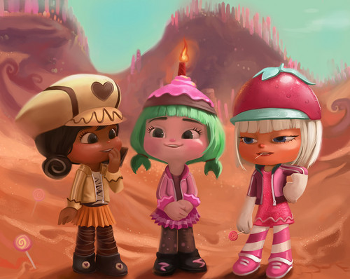 Wreck-It Ralph वॉलपेपर entitled Crumbelina, Candlehead and Taffyta