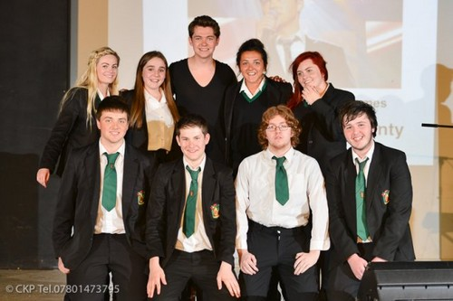 Damian with the students of Holy Trinity College in Tyrone, Northern Ireland