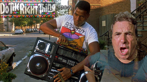 Filem kertas dinding with a turntable, piring and a ghetto blaster titled Do The Right Thing 1989