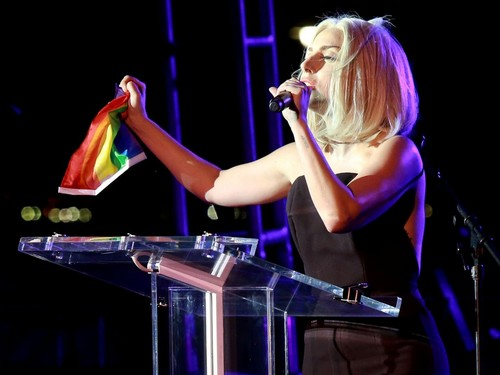 Gaga at the NYC Pride Rally (June 28th)