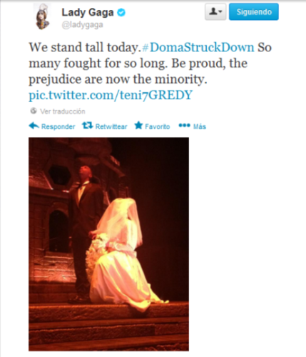 Gaga's tweet about DOMA and Prop 8 being struck down