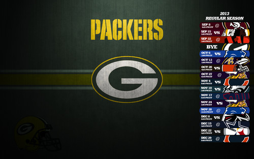 Green Bay Packers wallpaper possibly containing a sign called Green Bay Packers Schedule 2013 Wallpaper