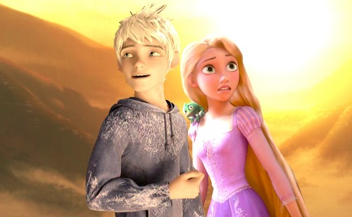 disney crossover wallpaper with a cocktail dress called Jack Frost and Rapunzel