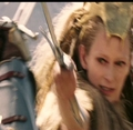 Jadis and Peter lock Swords.