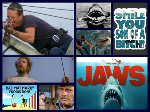 映画 壁紙 containing アニメ entitled Jaws Tribute collage
