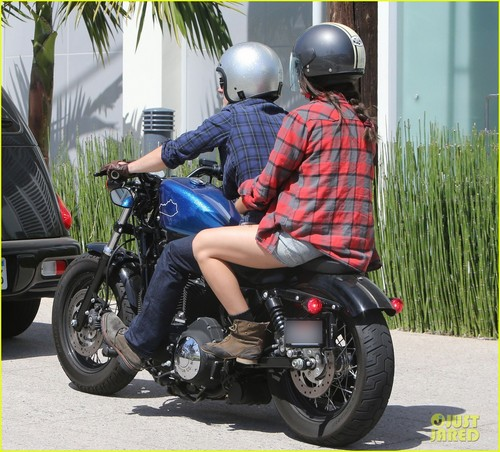 Josh Hutcherson & Claudia Traisac Kiss After Motorcycle Ride! [HQ]