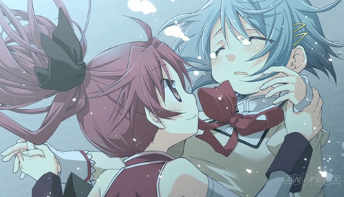 Puella Magi Madoka Magica karatasi la kupamba ukuta probably with anime called Kyouko and Sayaka