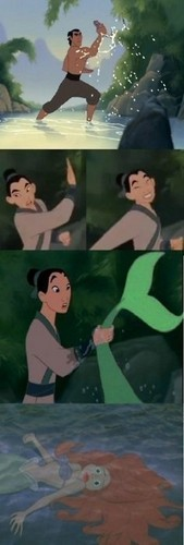 princesas de disney fondo de pantalla probably with anime entitled mulan caught Ariel