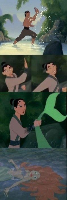 Mulan caught Ariel