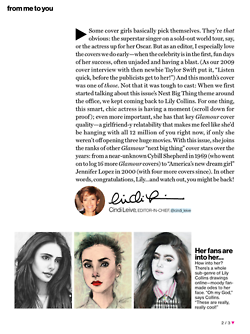My drawing of Lily, featured in her issue of Glamour Magazine