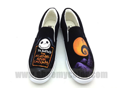 Nightmare before navidad slip on canvas shoes