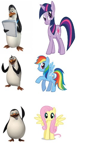 Penguins and their My Little 小马 alter-ego's ( sorry, no Skipper! )