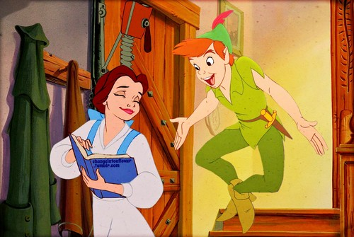 disney crossover fondo de pantalla containing anime entitled Peter Pan/Belle