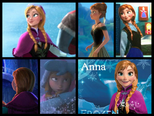 Frozen achtergrond with a portrait entitled Princess Anna