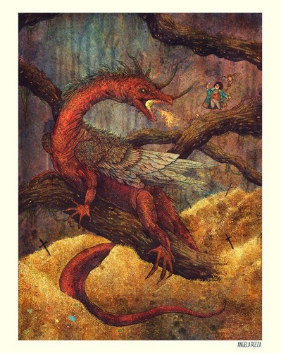 J.R.R. Tolkien Hintergrund with Anime titled Smaug & Bilbo
