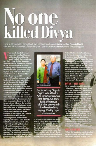 Divya Bharti Hintergrund probably with a newspaper and Anime called divya death