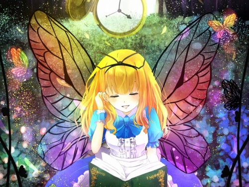 anime Girls achtergrond possibly with a stained glass window and anime called Alice in Wonderland achtergrond