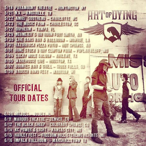Art of Dying Offical Tour Dates 4 2013