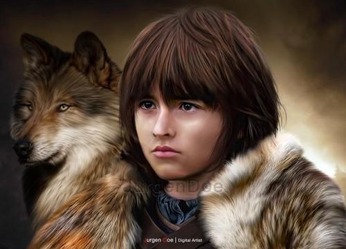 Arya & Bran Stark + direwolves