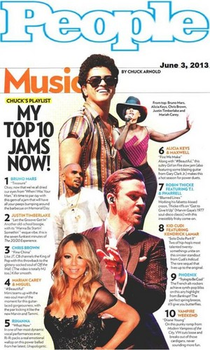 BRUNO MARS TOPS PEOPLE'S 'TOP 10 JAMS' LIST