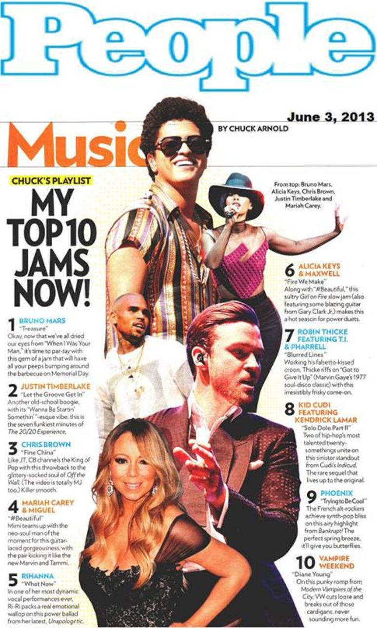 BRUNO MARS TOPS PEOPLE'S 'TOP 10 JAMS' 列表