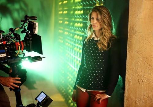 BTS of Emily Bett Rickards at the Arrow photoshoot!