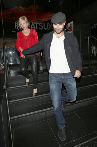 Tyler Hoechlin karatasi la kupamba ukuta possibly with a hip boot, an outerwear, and long trousers titled Brittany Snow and Tyler Hoechlin Out to chajio, chakula cha jioni