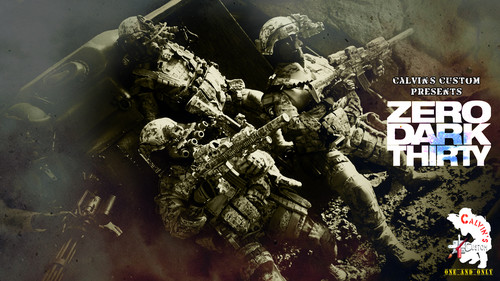 Film wallpaper probably with a fuciliere entitled Calvin's Custom one sixth scale ZERO DARK THIRTY diorama