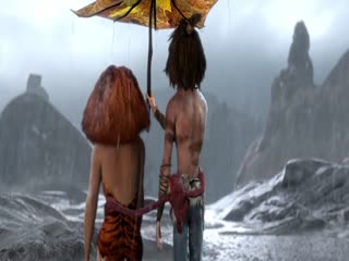 Eep & Guy Sharing An Umbrella - the-croods Photo