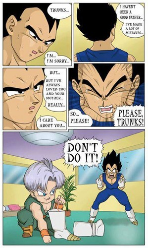 dragon ball z wallpaper with animê entitled Funny Vegeta and Trunks