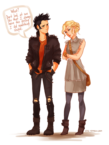 Helden des Olymp Hintergrund probably with a hip boot, a well dressed person, and an outerwear called Girly Annabeth and Punk Percy