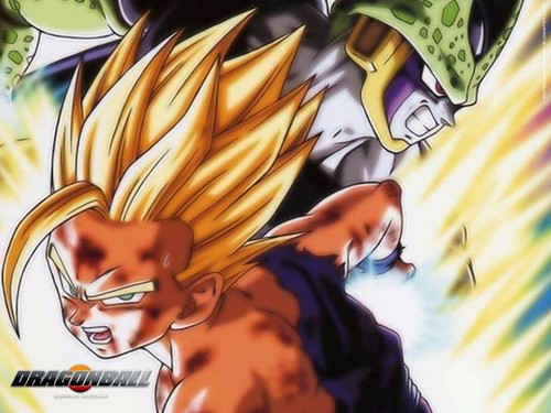 Dragon Ball Z Hintergrund containing Anime entitled Gohan vs Cell