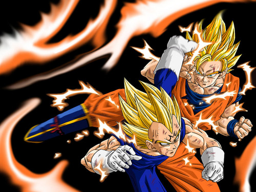 Dragon Ball Z Hintergrund titled Goku vs Majin Vegeta