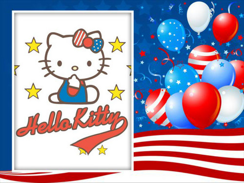 Hello Kitty July 4th achtergrond