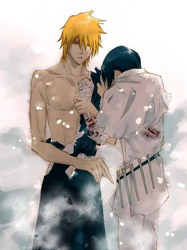 yaoi fondo de pantalla with a green boina entitled Ichigo and Uryu (Bleach)