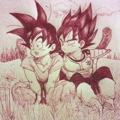 Kid Goku and Kid vegeta