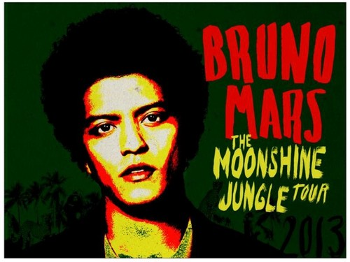 Bruno Mars fond d'écran with animé titled MOONSHINE JUNGLE TOUR