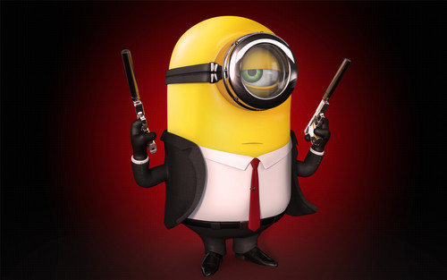 "Despicable Me Minions wallpaper possibly containing a hoover called Minion ""Hitman"""