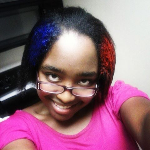 My half red, half blue hair!! :D happy 4th of July!!!