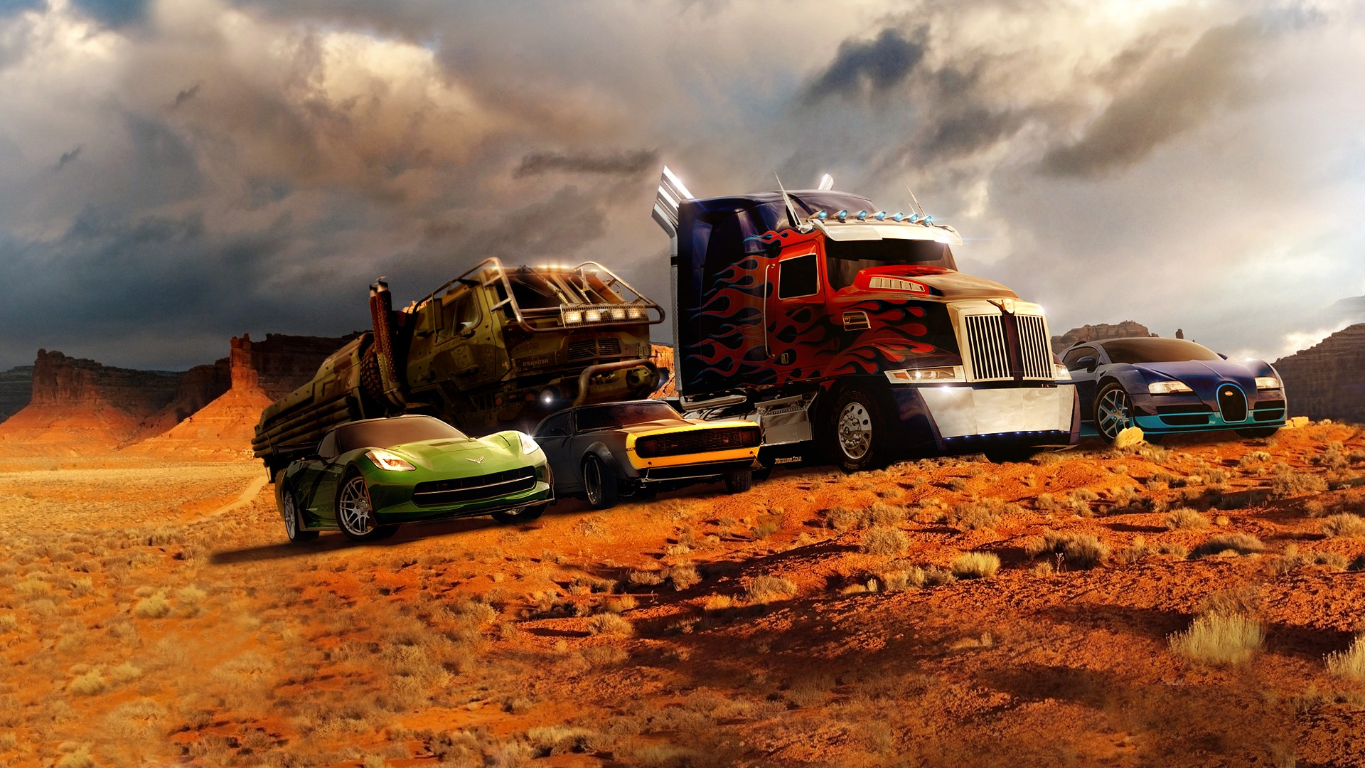 Optimus Prime, Bumblebee, Hound, Drift, and Slingshot