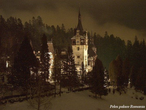 Peles palace Romania at night Carpathian mountains