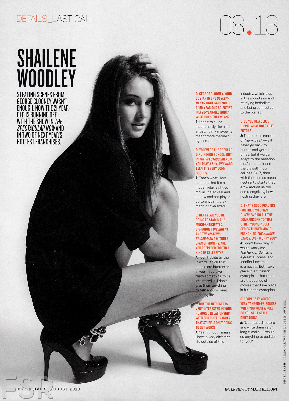 """Shailene featured in """"Details"""" magazine [August 2013]"""