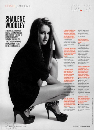"Shailene featured in ""Details"" magazine [August 2013]"