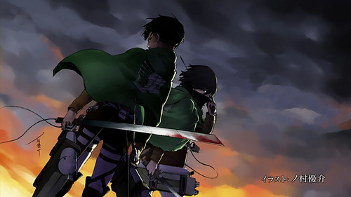 Ataque a los titanes fondo de pantalla entitled Shingeki no Kyojin [episode 13 - end card]