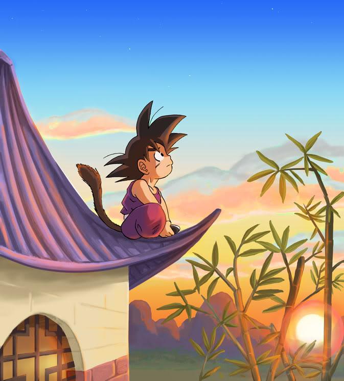 Son Goku's watching the Sunset