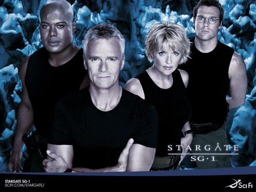 Memorable TV wallpaper possibly containing a televisi receiver and a sign called Stargate SG-1