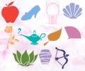 Symbols of the ディズニー Princesses