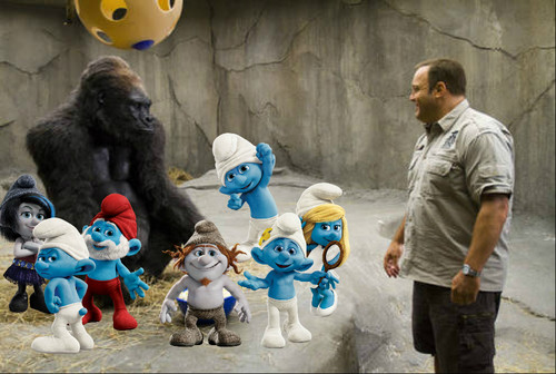 The Smurfs wolpeyper titled The Smurfs 2 and Zookeeper